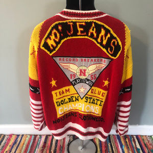 Vintage Sweaters - 80s Absolutely No! Jeans Sweater Rare Epic Logo
